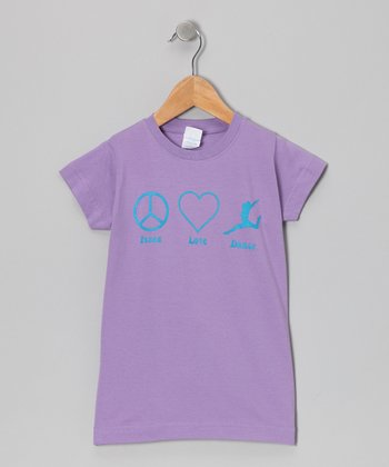 Peanuts & Monkeys Lavender 'Peace Love Dance' Tee - Infant, Toddler & Girls