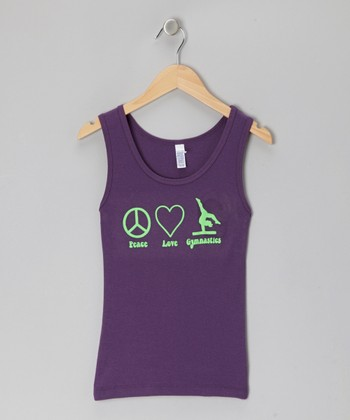 Purple 'Peace Love Gymnastics' Tank - Girls
