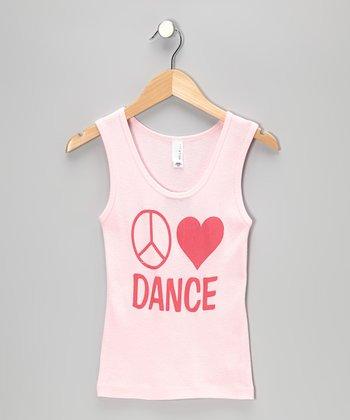 Peanuts & Monkeys Light Pink 'Peace Love Dance' Tank - Girls