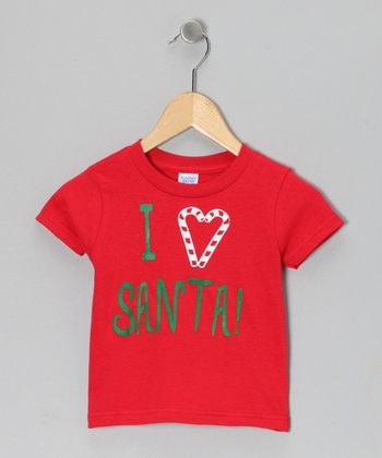 Red 'I Heart Santa' Tee - Infant, Toddler & Kids