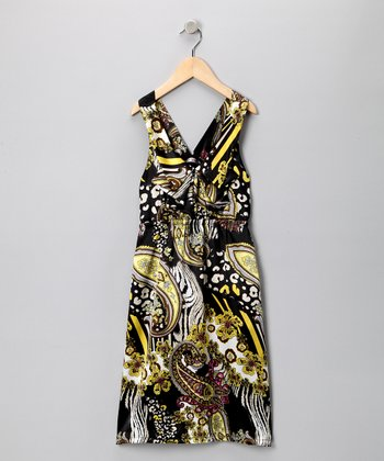 Yellow & Black Mod Paisley Dress - Girls