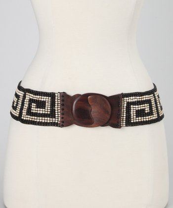 Black & Antique Cream Grecian Beaded Stretch Belt