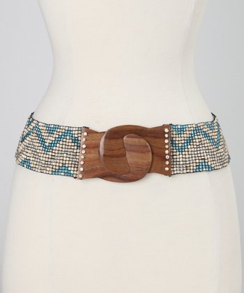 Turquoise & Silver Beaded Stretch Belt