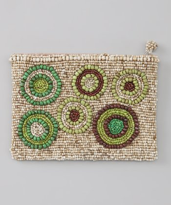 Cream & Green Circles Beaded Coin Purse