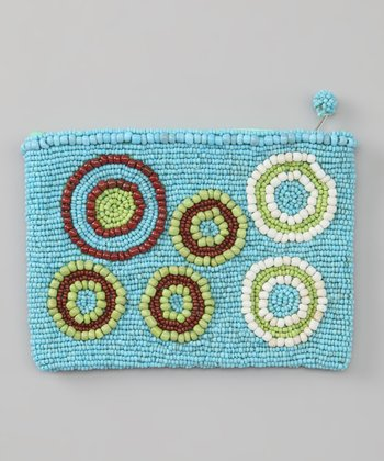 Turquoise Circles Beaded Coin Purse