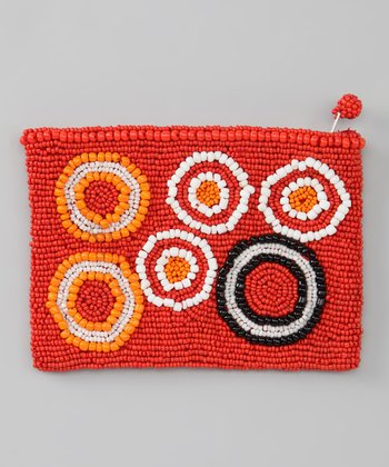 Coral Circles Beaded Coin Purse