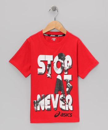 True Red 'Stop at Never' Tee
