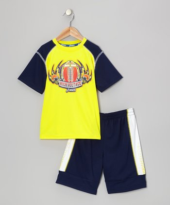 Yellow Performance Game Time Tee & Shorts - Boys