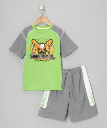 Green Performance Game Time Tee & Shorts - Boys
