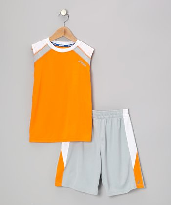 Orange Performance Distance Tank & Shorts - Boys