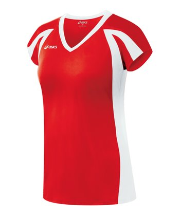 Red & White Domain Jersey Top - Women