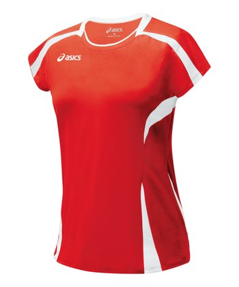 Red & White Blocker Jersey Top - Women