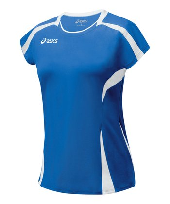 Royal Blue & White Blocker Jersey Top - Women