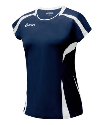 Navy & White Blocker Jersey Top - Women