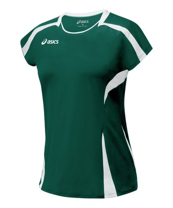 Forest Green & White Blocker Jersey Top - Women