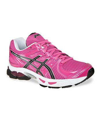 Neon Pink & Black Gel-Nimbus 14 GS Running Shoe - Girls