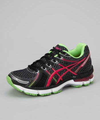 Black & Electric Pink GEL-Kayano 19 GS Running Shoe - Girls