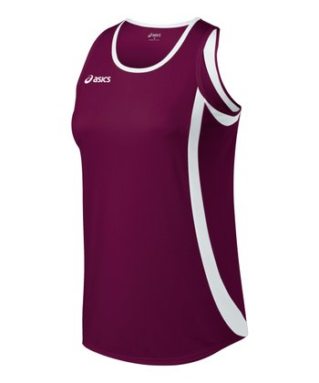 Maroon & White Intensity Tank - Women