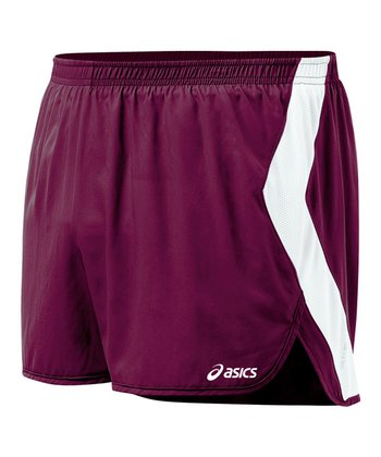 Maroon & White Intensity Split Shorts - Women