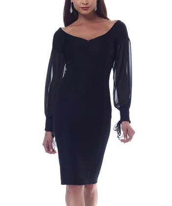 Black Ottoman Chiffon-Sleeve Dress