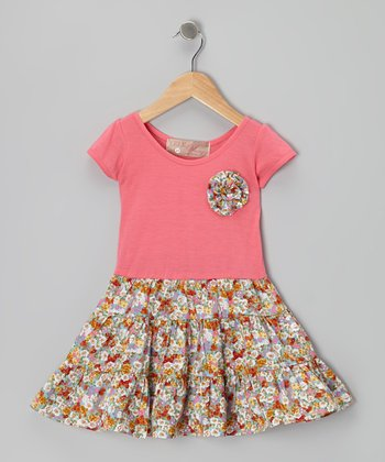 Pink Swing Dress & Floral Brooch - Toddler & Girls