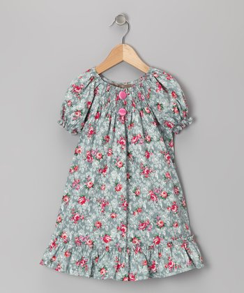 Blue & Pink Rose Ruffle Peasant Dress - Infant, Toddler & Girls