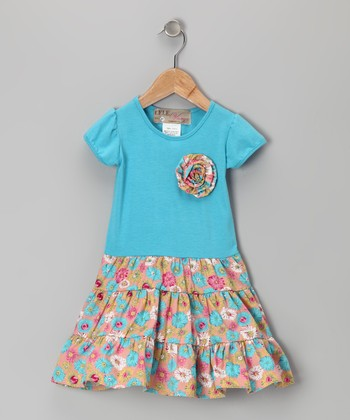 Turquoise Floral Rosette Dress - Toddler & Girls