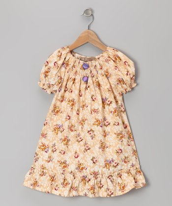 Butter Yellow Rose Ruffle Peasant Dress - Infant, Toddler & Girls