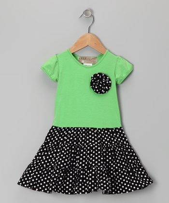 Mint & Black Polka Dot Rosette Dress - Toddler & Girls
