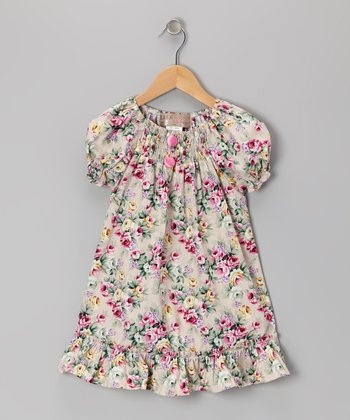 Stone & Pink Rose Ruffle Peasant Dress - Infant, Toddler & Girls