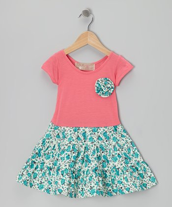 Pink & Blue Swing Dress & Floral Brooch - Toddler & Girls