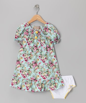 Blue & Yellow Rose Ruffle Peasant Dress - Infant & Toddler