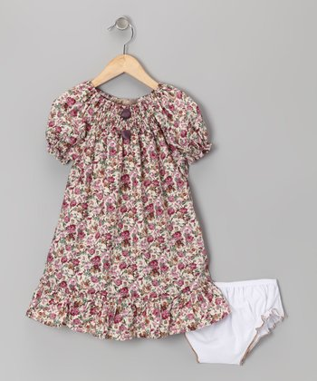 Mauve Rose Ruffle Peasant Dress - Girls