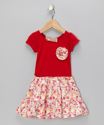 Red Swing Dress & Floral Pin - Toddler & Girls