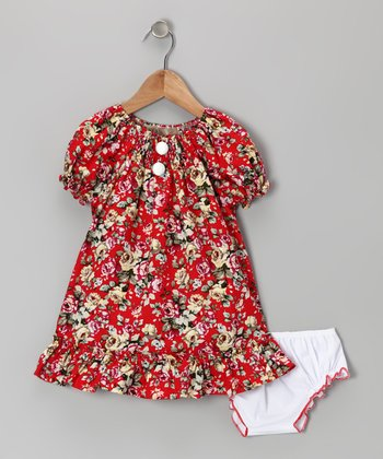 Red Rose Ruffle Peasant Dress - Girls