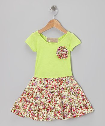 Lime Swing Dress & Floral Brooch - Toddler & Girls