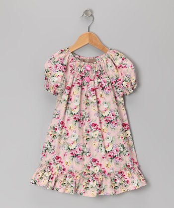 Dusty Rose Ruffle Peasant Dress - Girls