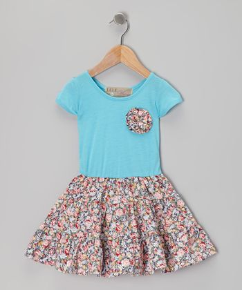 Turquoise Swing Dress & Floral Brooch - Toddler & Girls