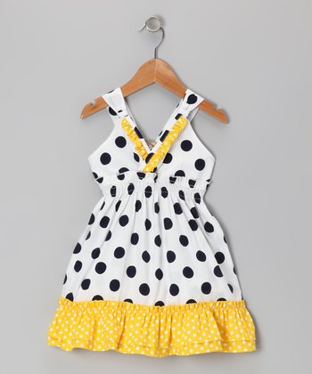 White & Yellow Polka Dot Ruffle V-Neck Dress - Toddler & Girls