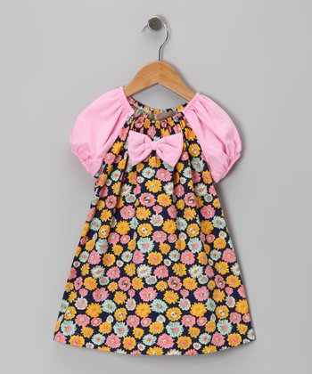Black & Pink Daisy Bow Tie Dress - Toddler & Girls