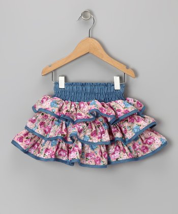 Pink Denim Floral Ruffle Skirt - Toddler & Girls
