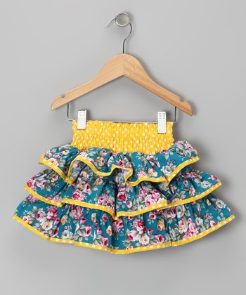 Yellow & Blue Floral Ruffle Skirt - Toddler & Girls