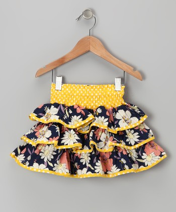 Yellow & Navy Daisy Ruffle Skirt - Toddler & Girls
