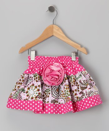 Pink Polka Dot Paisley Skirt - Toddler & Girls