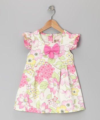 White & Pink Floral Angel-Sleeve Dress - Infant & Toddler