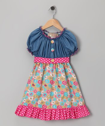 Pink Denim Floral Dress - Toddler & Girls
