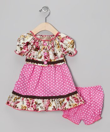 Pink & Brown Polka Dot Floral Peasant Dress & Bloomers - Infant
