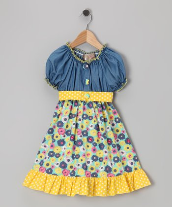 Yellow Denim Floral Dress - Toddler & Girls
