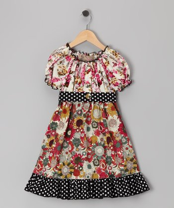 Black Polka Dot Floral Dress - Toddler & Girls