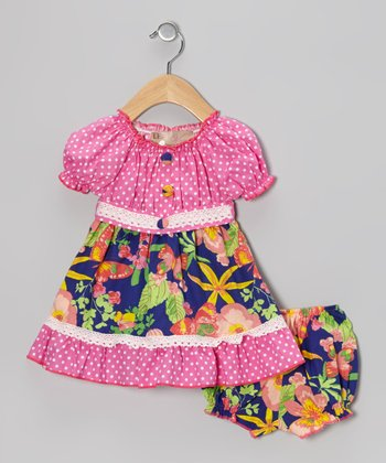 Pink Polka Dot Hawaiian Peasant Dress & Bloomers - Infant